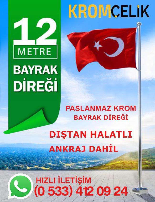 12 Metre Dıştan İpli Bayrak Direği