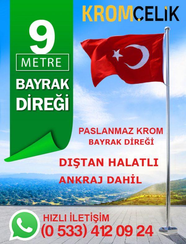 9 Metre Dıştan İpli Bayrak Direği