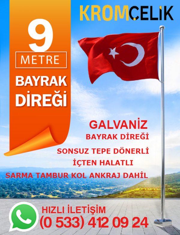 9 Metre Galvaniz Bayrak Direği
